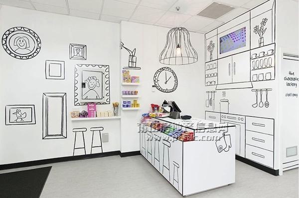 手绘风格装饰的糖果小店