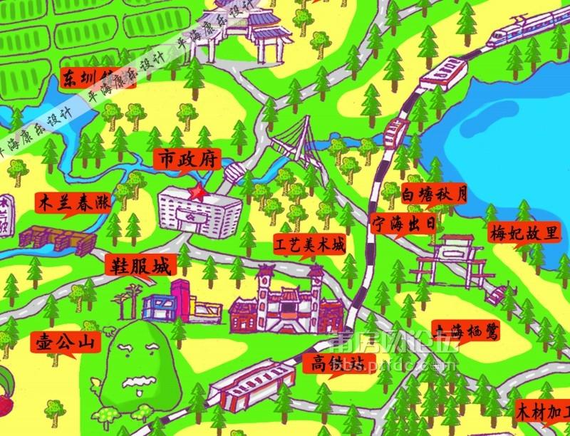 一组莆田旅游手绘地图,一起来找找身边的景点吧!