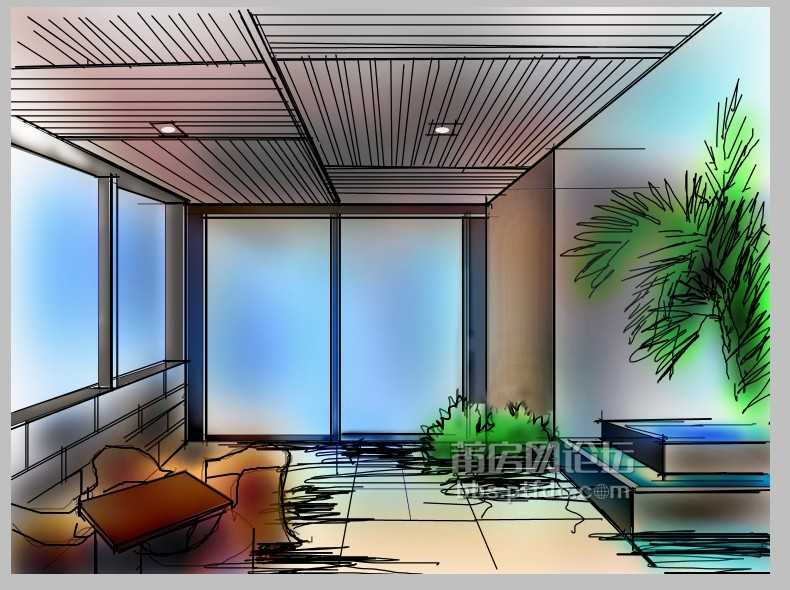 建筑装饰手绘效果图技法是以建筑装饰设计工程为依据