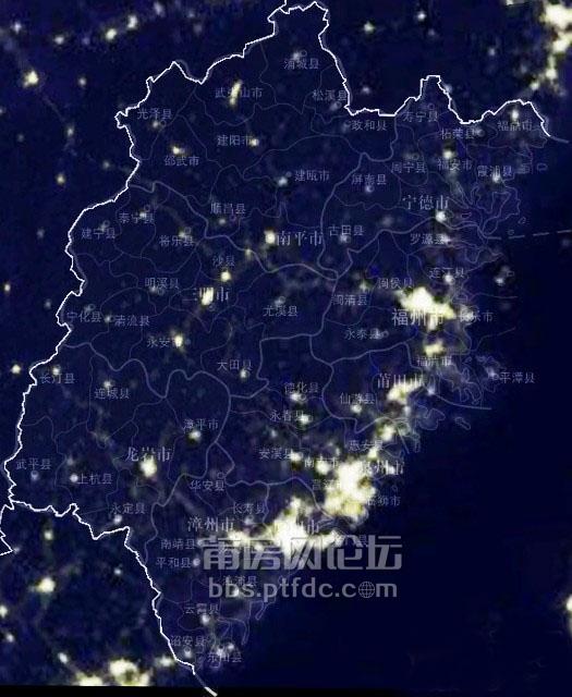 2014福建城市卫星夜景地图