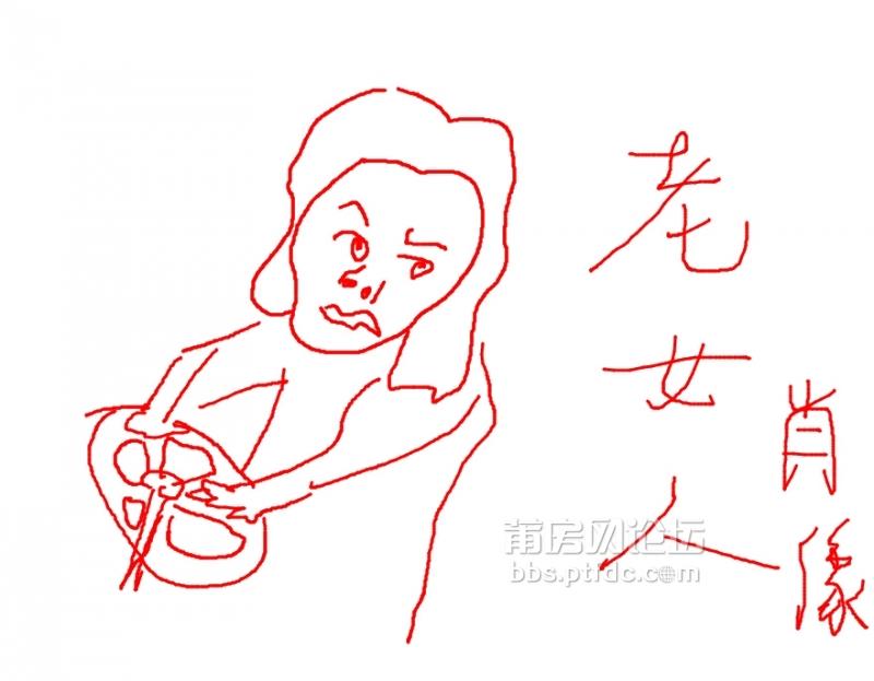 画学开车的女孩手绘
