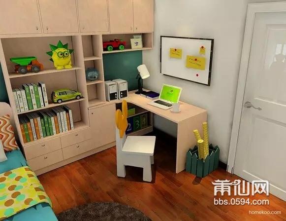 这套空间是给一个上初中的女生设计的,入门可见带圆弧柜定制到顶的趟门衣柜,结合窗边矮柜连接转角书桌,划分了一个休闲兼学习的区域。榻榻米床与床头的书柜组合,提升空间利用兼具展示功能。帷幔蚊帐布置犹如公主房间似的。