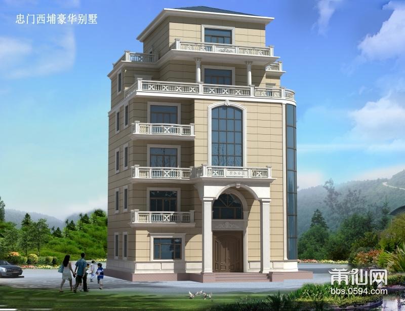 此别墅一共6层,外观设计入户门使用拱门造型