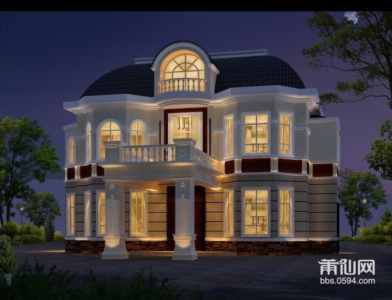 别墅一共6层,外观设计入户门使用拱门造型