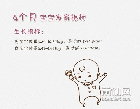 宝宝4个月能力发展指标 宝宝的能力发展主要是指:大运动、精细动作、视觉、听觉、触觉、嗅觉、味觉和语言、情绪、社交等方面的全面发展,只是每个宝宝各个月龄重点稍有不同,这也和宝宝的自身发育特点有关系。 4个月宝宝的基本能力表现包括: 应掌握的能力(大多数宝宝能做到):微笑,笑出声;可以用腿支撑身体重量;你对他说话时能做出咕咕的回应。 发展中的能力(一半宝宝能做到):能抓住一个玩具;能从俯卧翻身到仰卧。 高级能力(只有少数宝宝能做到):能模仿发出爸爸大大的声音;长出第一颗牙;也许准备好开始添加辅食了。 宝