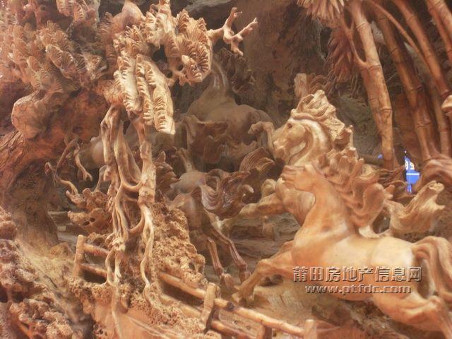 [莆田]工艺城仙鹤,奔马木雕鉴赏