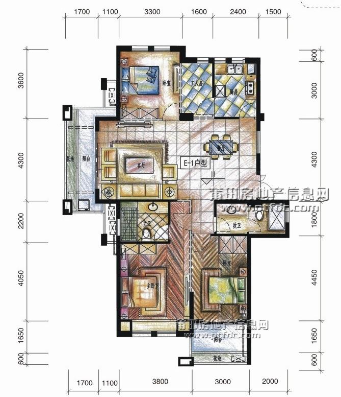 欧氏领秀中央公馆8#01户型144.93平方米